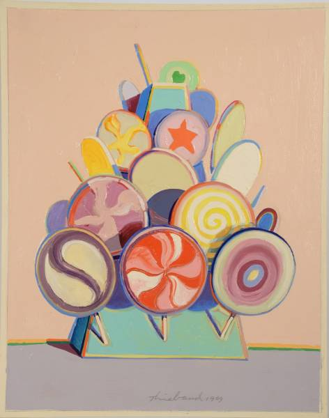 Oil on board painting by Wayne Thiebaud (Am., b. 1920), titled Lollipop Tree.
