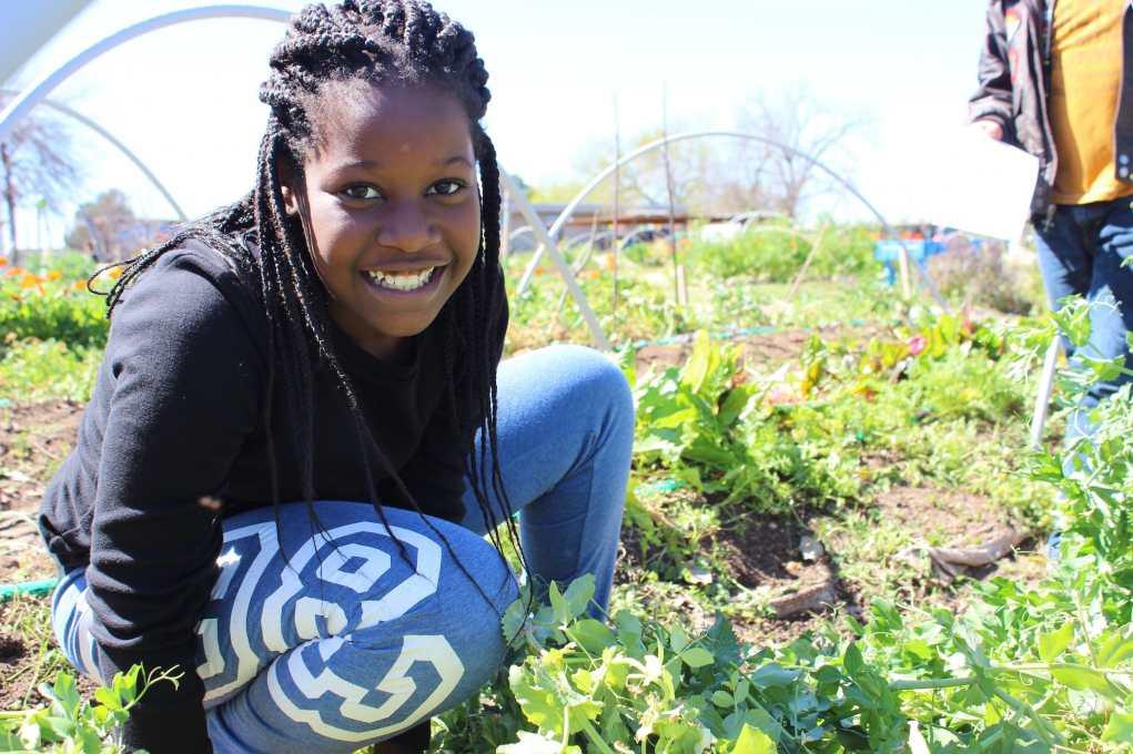 Student in Urban Veg Garden