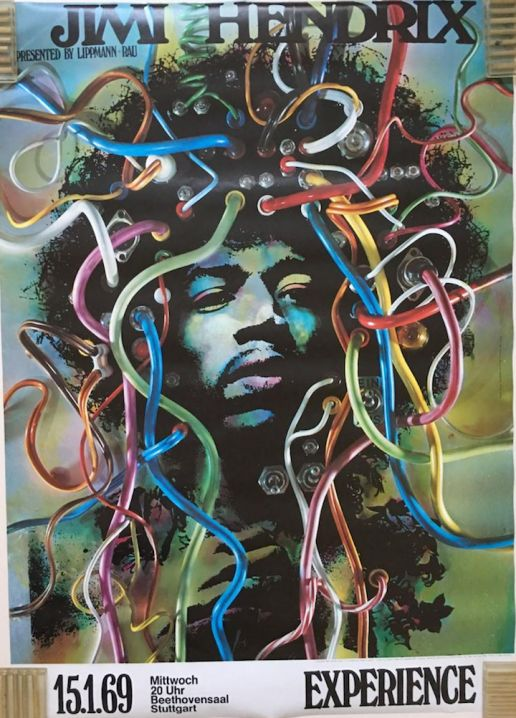 1969 Jimi Hendrix EXPERIENCE DARIEN HOUSE Poster by Gunther Kieser.