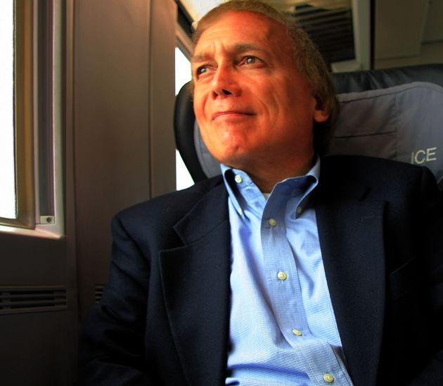 Steve Ember on ICE train in Europe