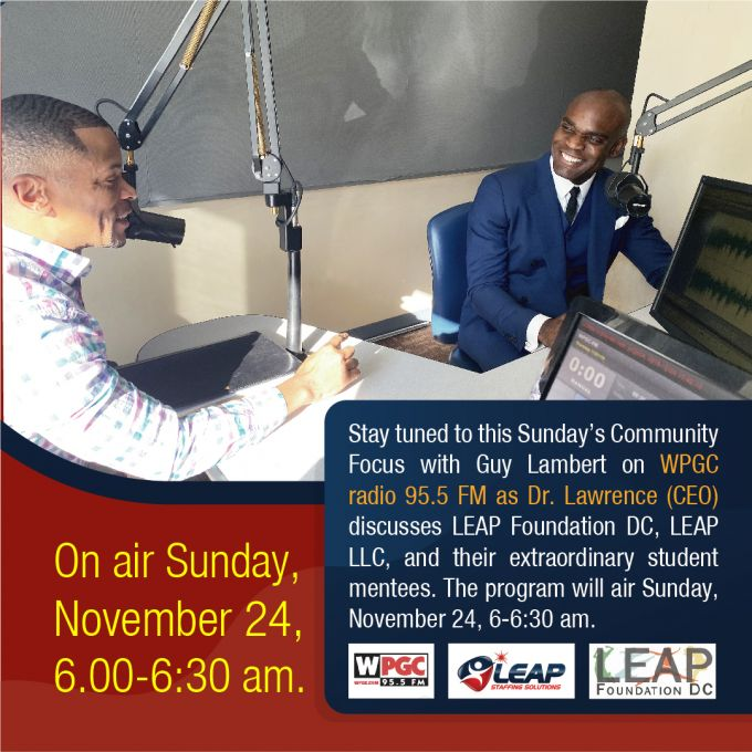 Dr. Lawrence will be featured on 95.5 (FM) WPGC's Community Focus.